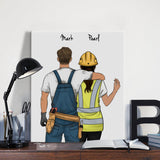 Customize Hand Draw Canvas-Print Gift -Mechanic&Builder