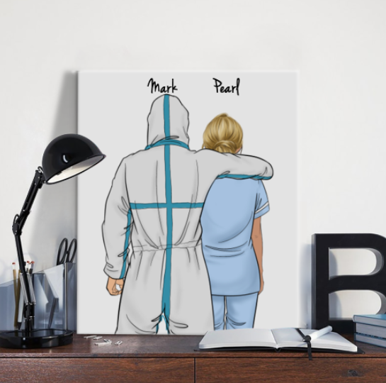 Customize Hand Draw Canvas-Print Gift -Doctor&Nurse Paramedic