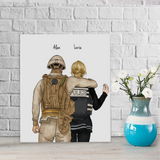 Customize Hand Draw Canvas-Print Gift -Soldier Soldat&Police