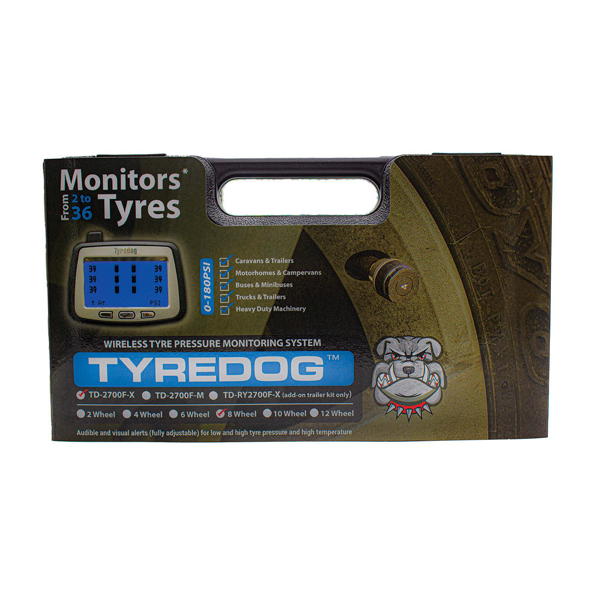 TYREDOG TD-2700F-X08 - 8 Wheel External Tyre Pressure Monitoring System