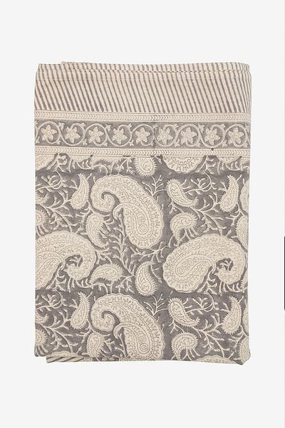 Chamois, duk, big paisley charocal grey, 170x270