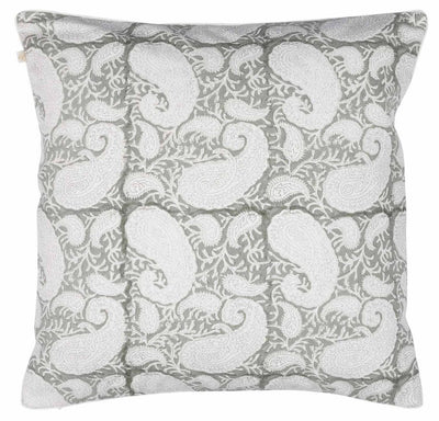 Chamois kuddfodral, light grey, big paisley
