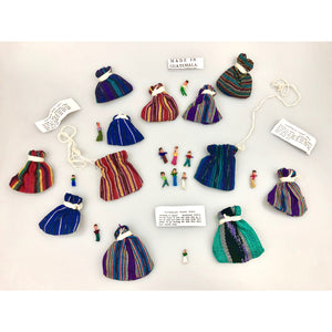 Set of 16 | Six Worry Dolls in a  textile bag