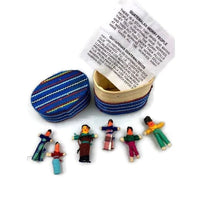 6 Mini Worry Dolls In a Box Covered in Traditional Fabric