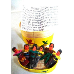 6 Mini Worry Dolls In A Traditional Box - worry dolls
