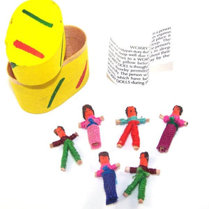 6 Mini Worry Dolls In A Traditional Box - 1 Unit - worry