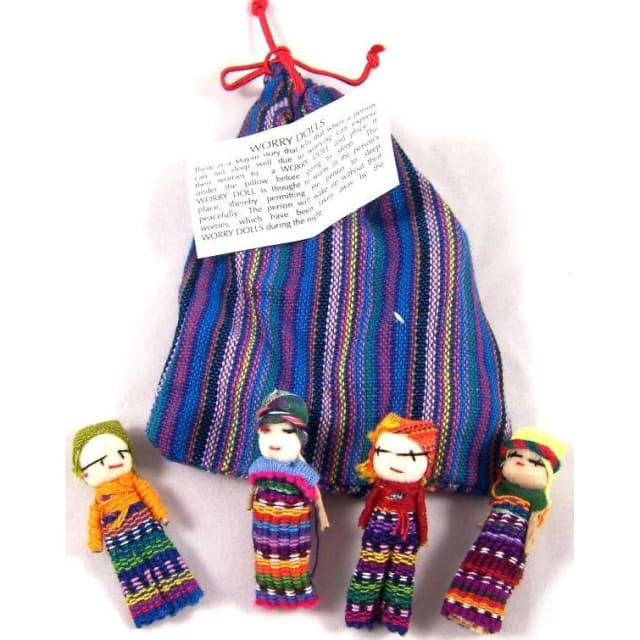 Four Large Big Worry Dolls in a handwoven textile bag - Blue