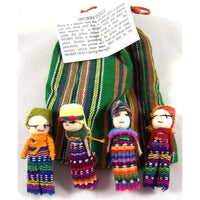 Four Large Big Worry Dolls in a handwoven textile bag -