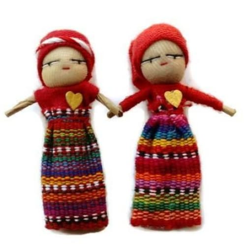 Love Worry Dolls in a Big Wooden Box - worry dolls