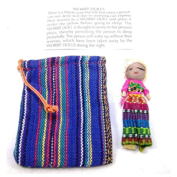 Single worry doll in textile bag - Blue - worry dolls