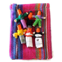 Six Worry Dolls in a handwoven textile bag - Pink - worry