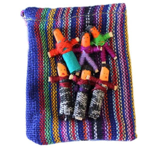 Six Worry Dolls in a handwoven textile bag - Blue - worry
