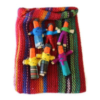 Six Worry Dolls in a handwoven textile bag - Red - worry