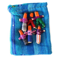 Six Worry Dolls in a handwoven textile bag - worry dolls