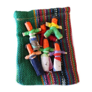 Six Worry Dolls in a handwoven textile bag - Green - worry