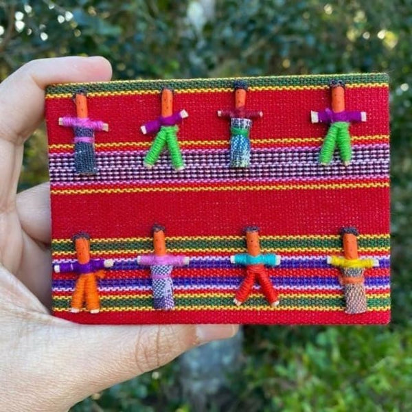 Worry Dolls Notebook covered with Traditional Mayan Fabric -