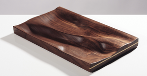 Contemporary Carved Walnut Ebonized Tray with Brass Accent by Vincent Pocsik