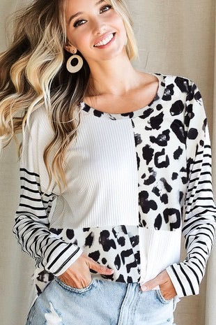 """Evelyn"" Black/White Color Block Top"