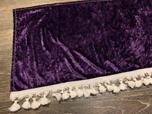 Load image into Gallery viewer, Purple Crushed Velvet Dashmat With White Tassel