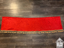 Load image into Gallery viewer, Red Crushed Velvet Dashmat With Gold Tassel