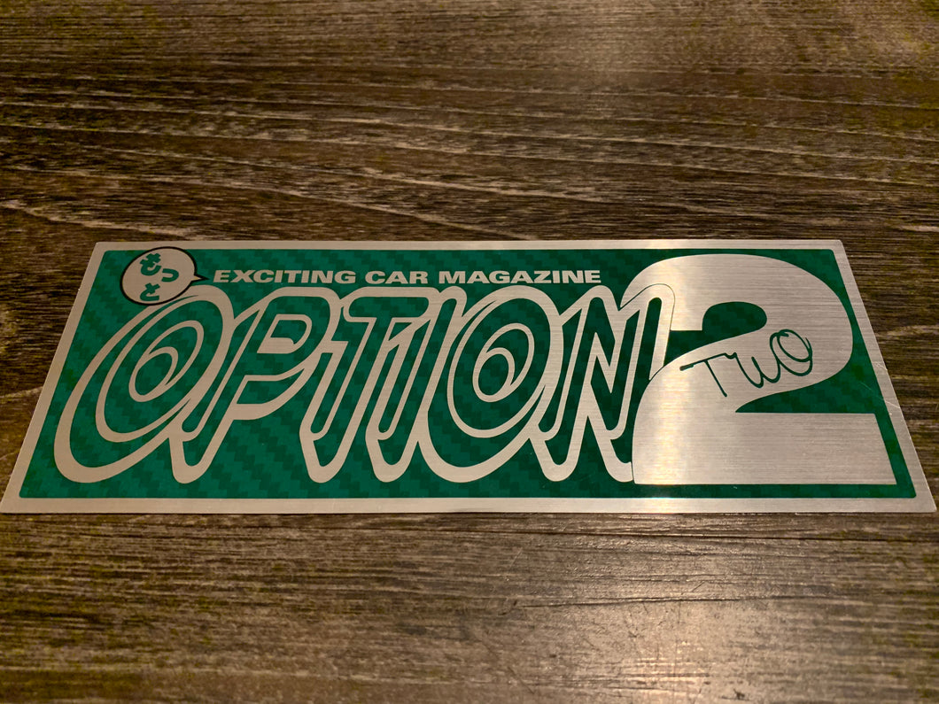 Option 2 Green Carbon/Brushed Silver Sticker