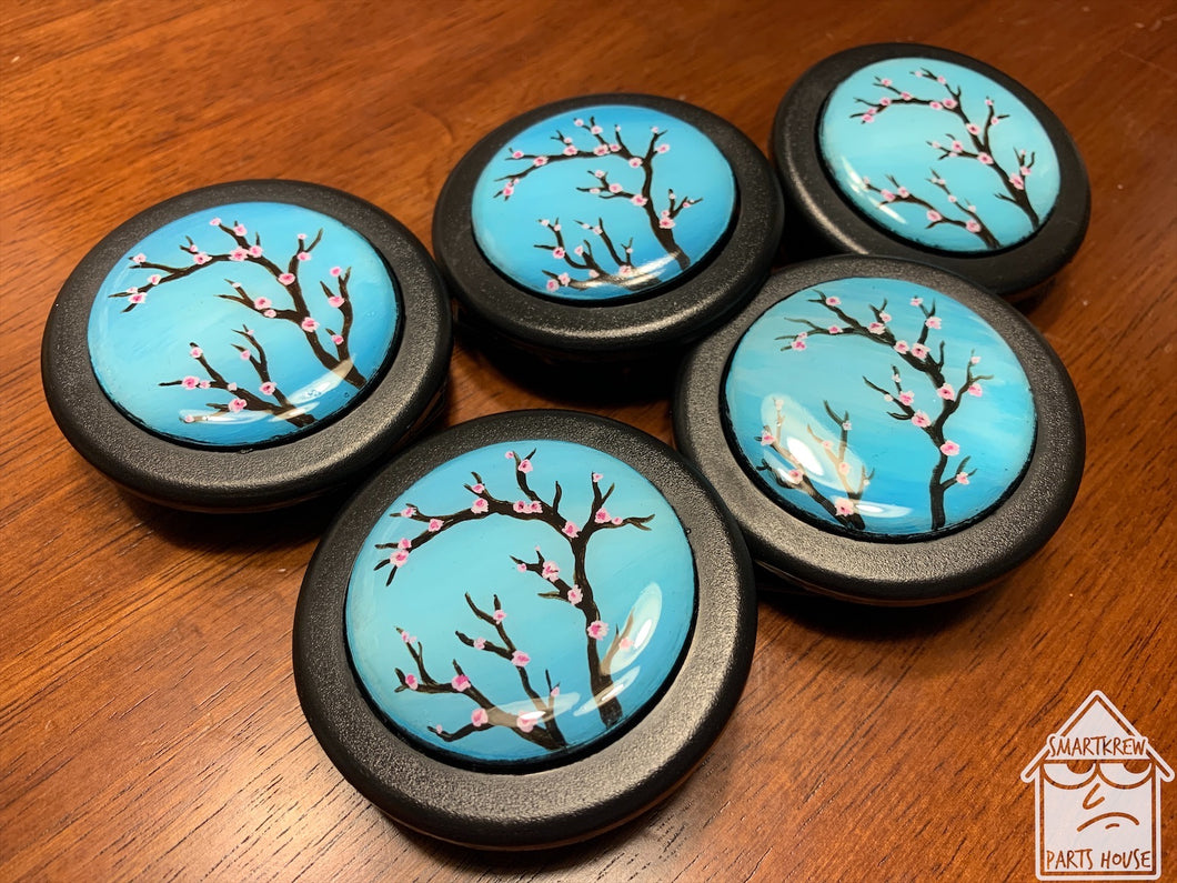 Hand Painted Cherry Blossom Horn Button