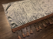 Load image into Gallery viewer, Grey Crushed Velvet With Copper/Grey Tassel