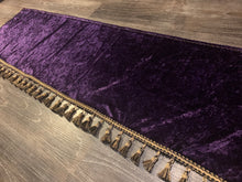 Load image into Gallery viewer, Purple Crushed Velvet Dashmat With Black & Gold Tassel