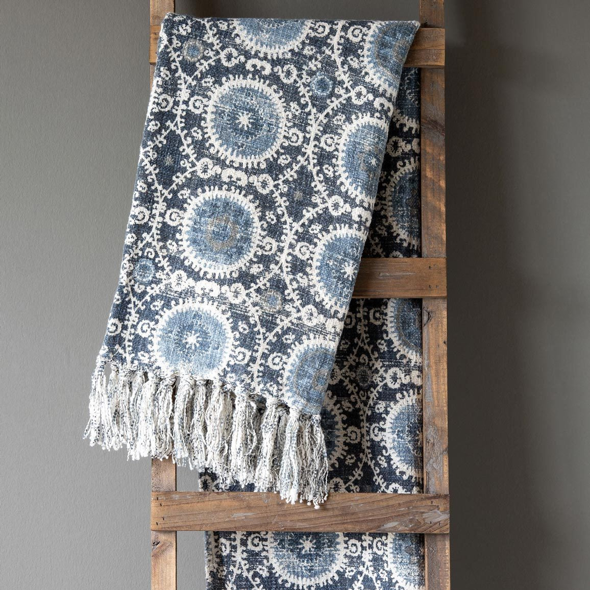 Printed Cotton Throw, Blue - WishBasket