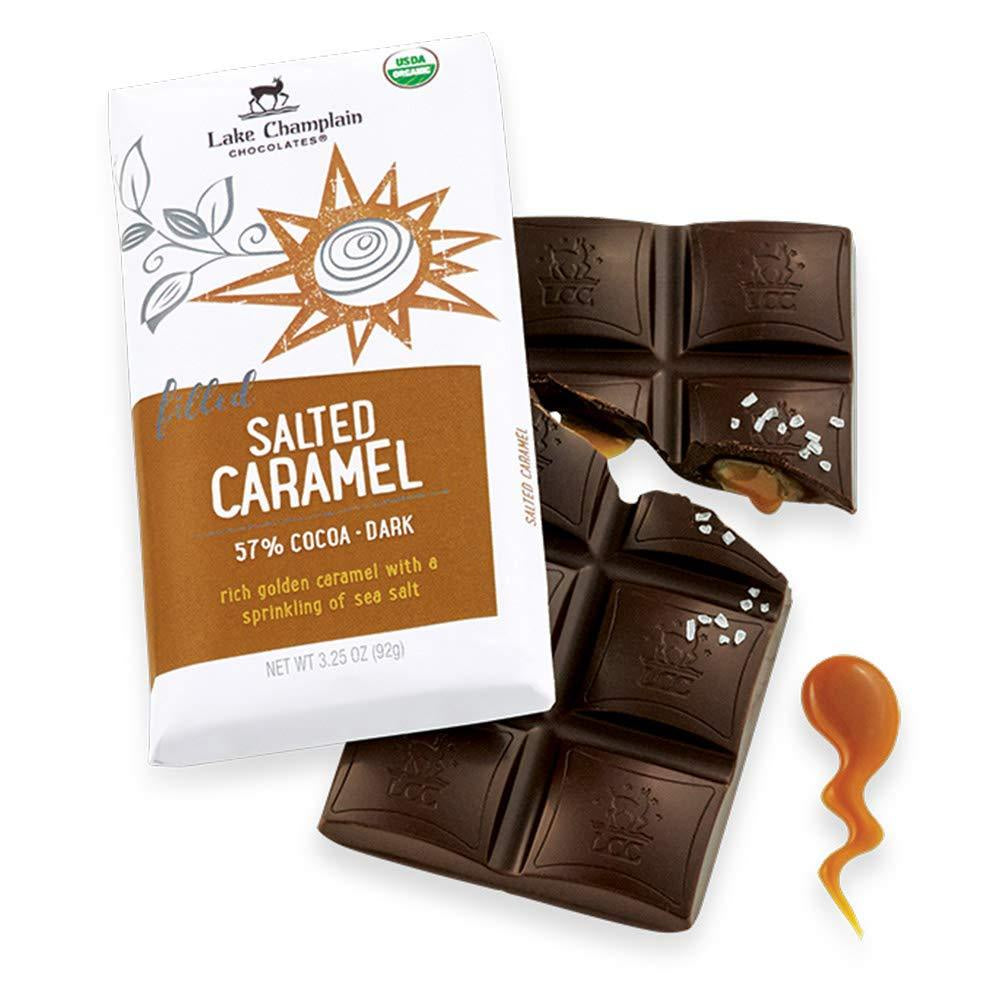 Lake Champlain Salted Caramel Organic Dark Chocolate Candy Bar, 3.25 Ounces - WishBasket