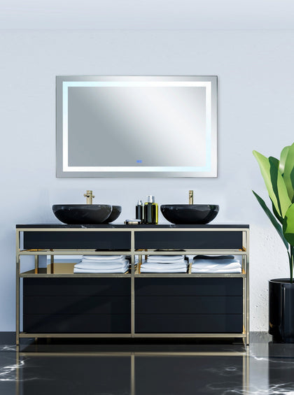 Rectangle Matte White LED 70 in. Mirror From our Abril Collection