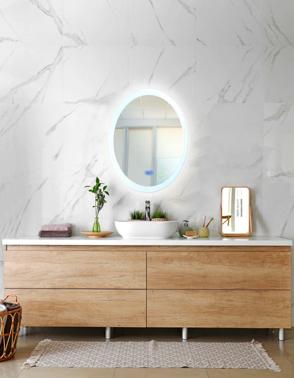 Oval Matte White LED 22 in. Mirror From our Agostino Collection