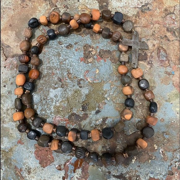 Clay Cross Bead Necklace Handmade in Haiti