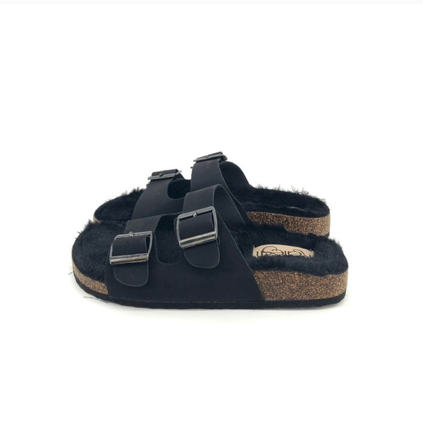 Faux Fur Sandals - Black