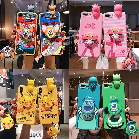 Cartoon doll style mobile phone set with lanyard