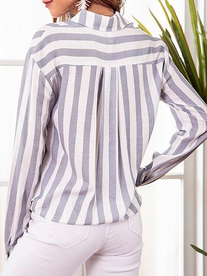 Blue Stripe Cotton Blend Tie Front Long Sleeve Chic Women Shirt