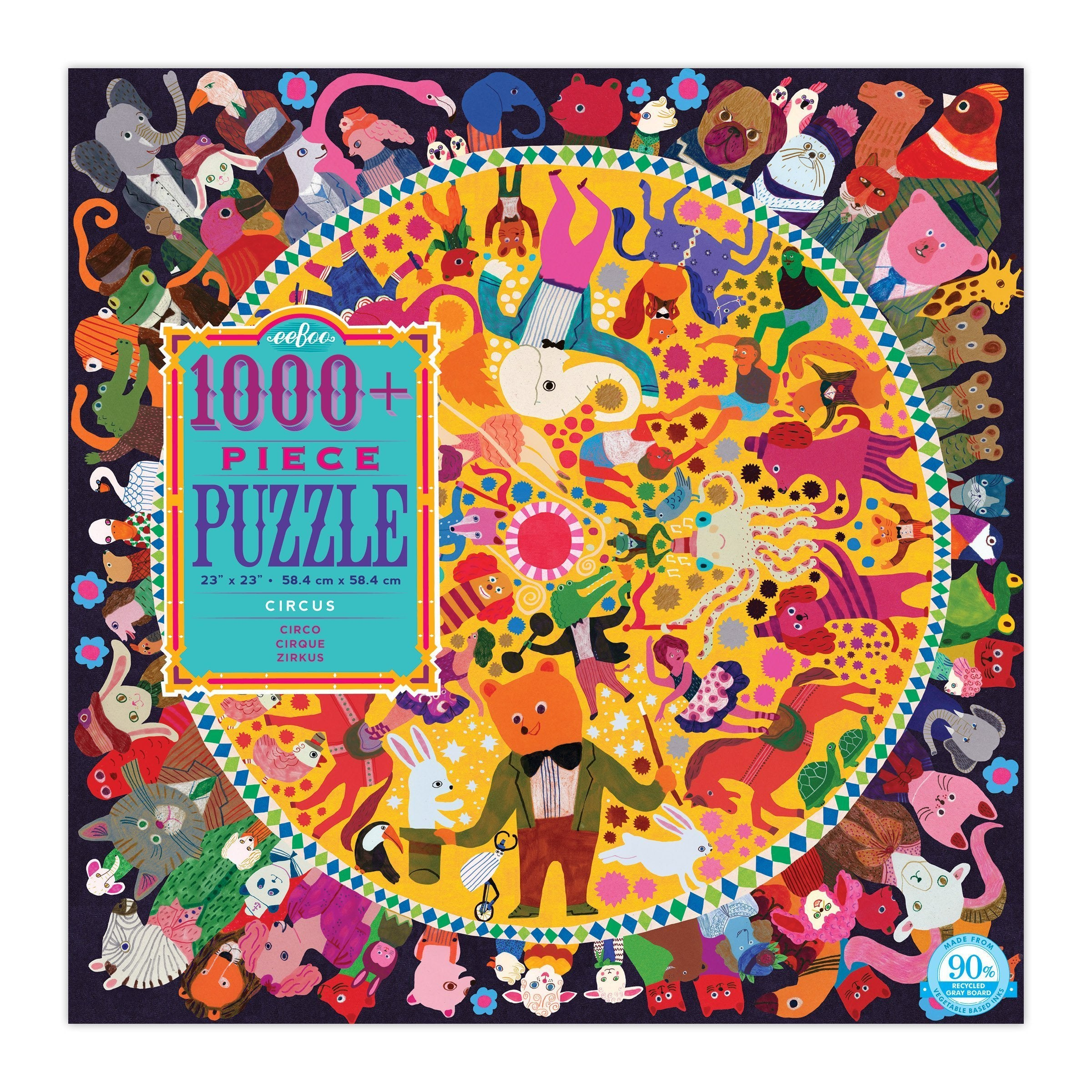 One thousand pieces! Get right to it! With patience you can surely do it. Inside the busy circus ring Performers deftly do their thing. (And the throng that's come to see Is also a menagerie!) Everyone can gather round… This puzzle's never upside down!