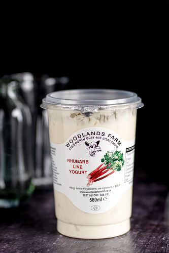 Woodlands Farm Rhubarb Live Yoghurt - 560ml