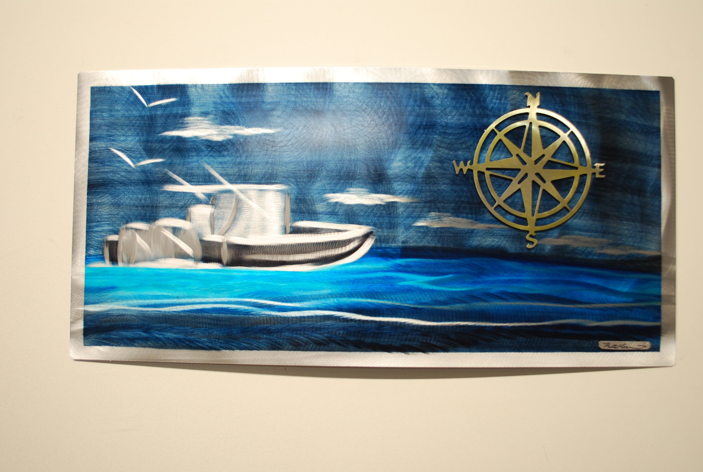 "Golden compass boat day 12""x24"""