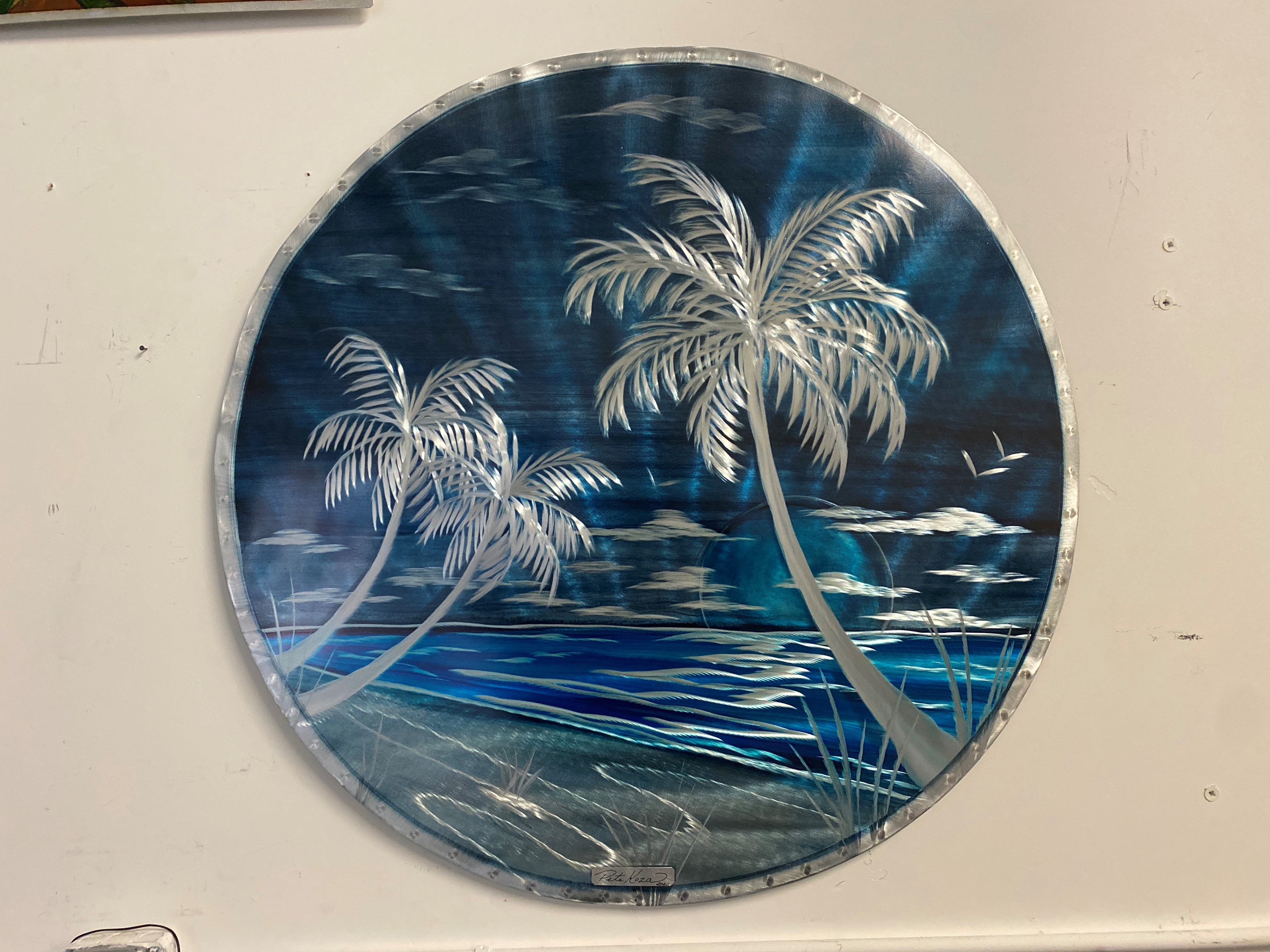"24"" Dark Blue Palms Circle Art"