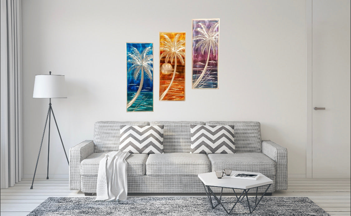 3 Panel Set Palm Trees