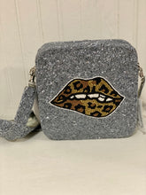 Silver Leopard & Lips Square Beaded Purse