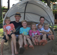 Family of five children on Bali holiday