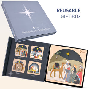 wooden nativity puzzle in christmas gift box