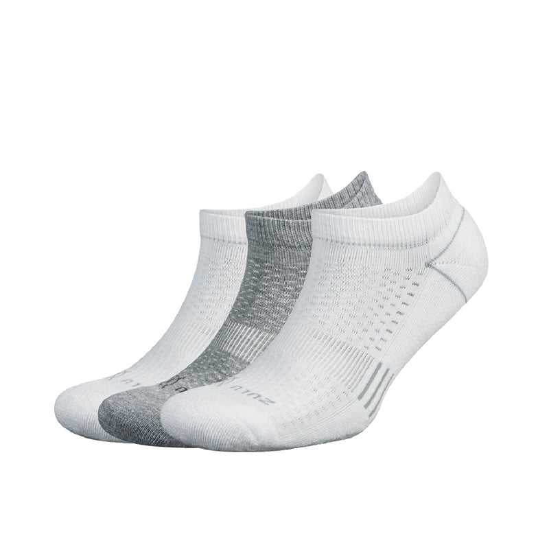 Zulu No Show 3-Pack Socks- White/Grey