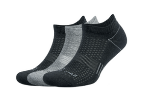 Zulu No Show 3-Pack Socks- Black/Grey