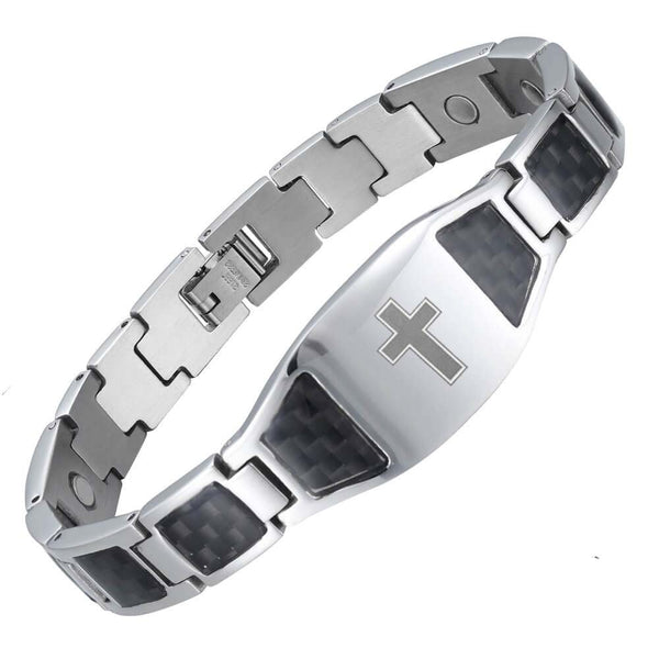 Men's Stainless Steel Magnetic Therapy Bracelet with Imprinted Cross Design