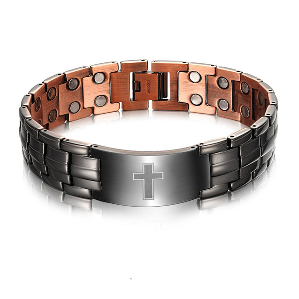 Men's Copper Magnetic Therapy Bracelet with Imprinted Cross Design