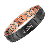 Men's Copper Magnetic Therapy Bracelet with Imprinted Faith Design
