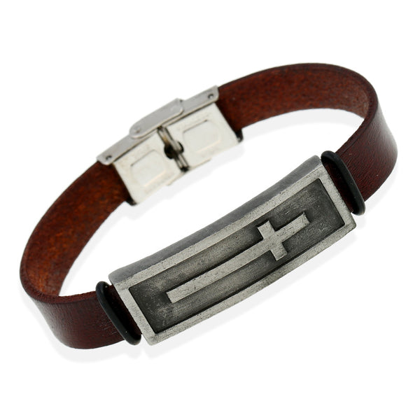 Men's Leather Bracelet with Stainless Steel Plated Cross